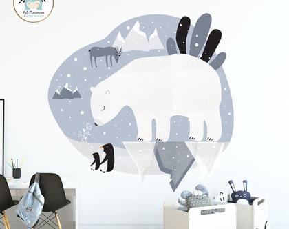 מדבקת קיר - טיול לקוטב | מדבקות קיר | מדבקות ויניל | עיצוב חדרי ילדים