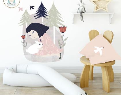 מדבקת קיר - ילדה וארנבת | מדבקות קיר | מדבקות ויניל | עיצוב חדרי ילדים