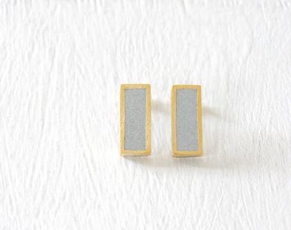 עגילים מלבניים צמודים זהב ובטון
