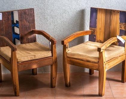 כיסא מעוצב מעץ טיק אינדונזי