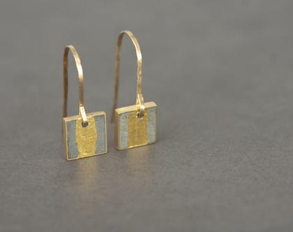 עגילים מרובעים תלויים במילוי בטון עם עלי זהב