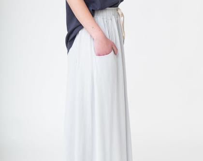 חצאית בייסיק | אפור בהיר