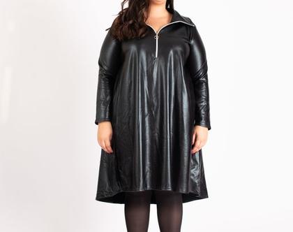 שמלה שחורה מדמוי עור גולף עם רוכסן שמלת פריז