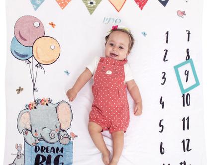 סייל! שמיכת חודשים דגם פיל | שמיכה לתינוק/ת עם שם | שמיכה לתיעוד השנה הראשונה | צילום תינוק לפי חודשים | צילום תינוקות | מתנת לידה