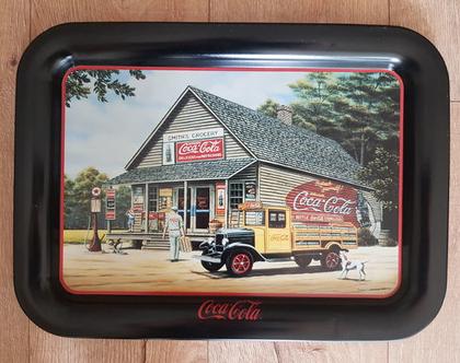 מגש קוקה קולה - מגש פח קוקה קולה ציור אוירה - מגש פח קוקה קולה (1993)