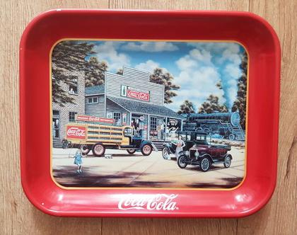 מגש קוקה קולה - מגש פח קוקה קולה עם ציור אווירה - קוקה קולה מגש (1997)