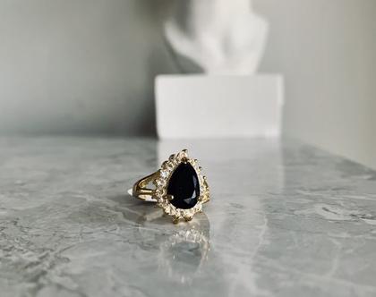 טבעת טיפה| טבעת דיאנה| טבעת מצופה בזהב| טבעת טיפה שחורה| טבעת וינטג׳| טבעת סבתא