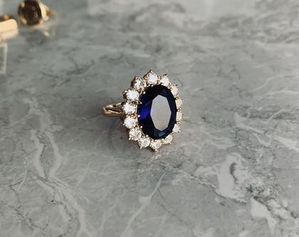 טבעת דיאנה| טבעת מרשימה| טבעת מצופה בזהב| טבעת וינטאג'| טבעת אבן כחולה| כחול רויאל | טבעת סבתא
