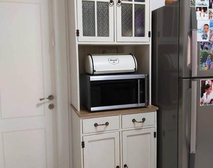 ארון ויטרינה למטבח בעיצוב רטרו כפרי, ארון ויטרינה למטבח במראה וינטג' כפרי