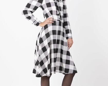 שמלת פפיון משובצת עם שרוולים ארוכים - מהדורה מוגבלת