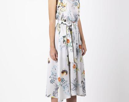 שמלת סאטן כסופה הדפס ציפורים , שמלת ערב קלילה - מהדורה מוגבלת