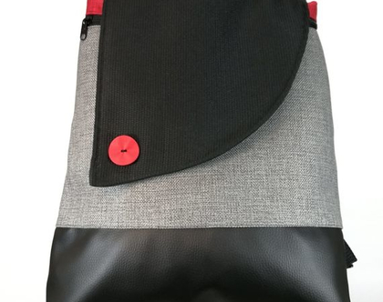 תיק גב גדול למחשב נייד, תיק גב לקלסר, תרמיל מעוצב, תיקים מבד, תיק גב שחור אפור, מתנה מומלצת למורות, תרמיל נטעלי אפור בהיר שחור