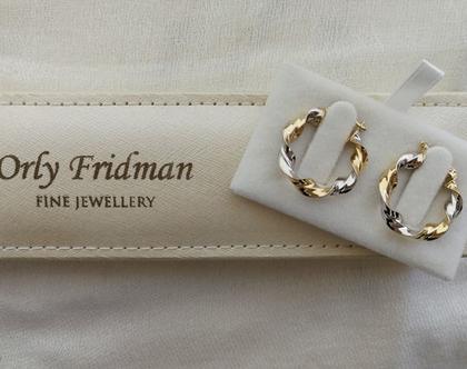 עגילי חישוק זהב מרשימים 14 קרט, עגילי חישוק מסובב שני צבעי זהב 14 קרט, עגילי זהב מיוחדים