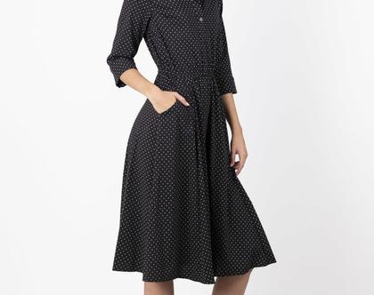שמלה מכופתרת נקודות עם שרוול ארוך