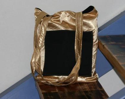 תיק זהב, תיק בד בצבע זהב, תיק כתף עם שתי רצועות, משלוח חינם!!