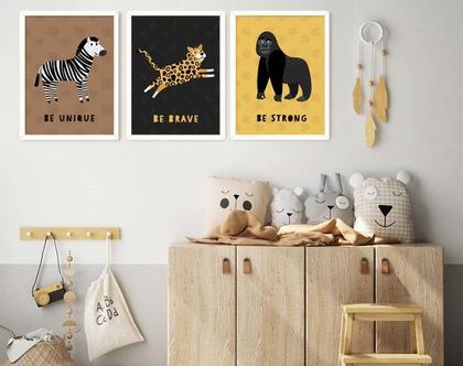 סט תמונות לחדר ילדים חיות - נמר זברה גורילה | פוסטרים לחדר ילדים | פוסטרים ממוסגרים לילדים | הדפסים לחדר ילדים | תמונות קיר לילידם