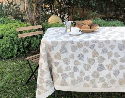 """מפת שולחן - דגם """"סתו"""" קפה"""
