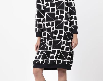 שמלת סווטשירט שחורה גאומטרית - שמלה עם שרוול ארוך