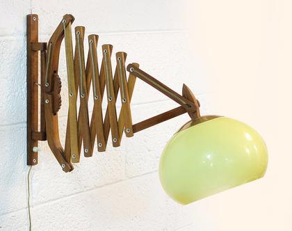 מנורת עץ וינטאג׳ ענקית נפתחת, מנורת עץ נפתחת, מנורת אקורדיון