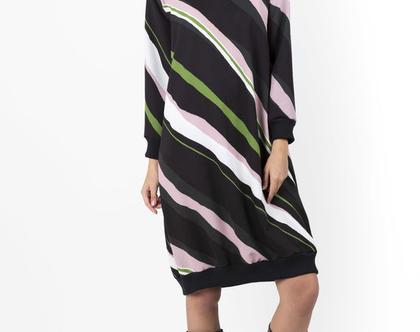 שמלת סווטשירט סגולה הדפס 70s - שמלת פסים - שמלה עם שרוול ארוך