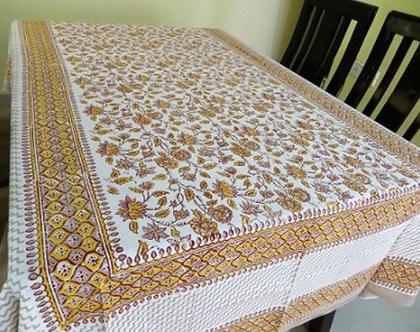 מפת שולחן מלבנית 150*220 פרחי החרדל