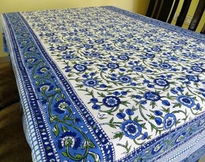 מפת שולחן מלבנית 150*220 דגנית כחולה