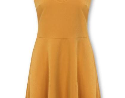 שמלה בצבע חרדל ללא שרוולים בגזרת קלוש (קריסטיאן)