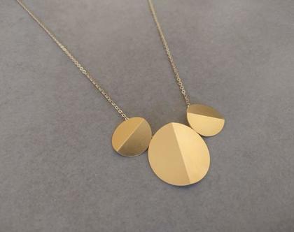 שרשרת אוריגמי עיגולים זהב | שרשרת דיסק זהב | שרשרת גולדפילד עם תליון אוריגמי מיוחד | שרשרת עיגולים זהב | שרשרת עיגולים לאישה | שרשרת תליון