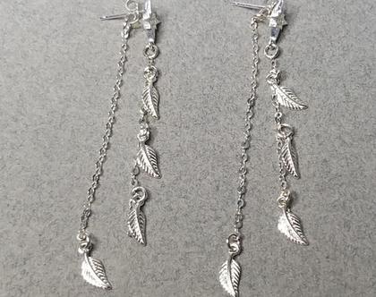 עגילי כסף 925 ארוכים בשילוב עלים תלויים, עגילים עדינים, עגילים נופלים