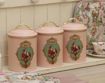 סט קפה תה סוכר - בעיצוב מיכל נגרין | סט קפה תה סוכר - וינטג' דיזיין | סט קפה תה סוכר בצבע ורוד עתיק