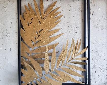 תמונת עלים זהב מסגרת שחורה