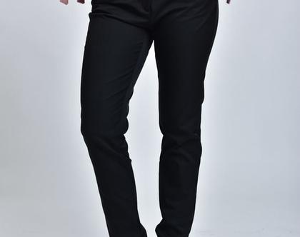 מכנסיי סקיני שחורים, מכנסיים גזרת סקיני, מכנסיים בצבע שחור מכנסיים בגזרה גבוהה - לין שחור