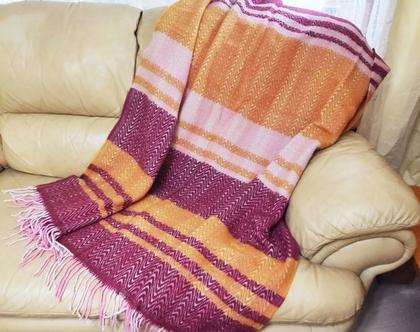 שמיכת טלוויזיה מצמר טהור 130*180 שמיכה חורפית שמיכה דו צדדית שמיכת צמר כירבולית צמר של פעם מתנה לאמא