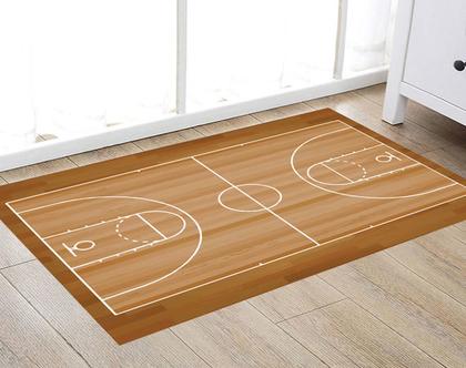 שטיח ויניל דגם מגרש כדורסל | שטיח pvc רך | שטיח לחדרי ילדים ענק 1.2X1 מטר