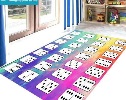 שטיח ויניל דגם דומינו | שטיח pvc רך | שטיח לחדרי ילדים ענק 1.2X1 מטר