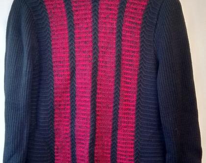 סוודר סבנטיז שחור ואדום MONSANTO לגבר/אישה | סוודר אקרילן וינטג' מקורי