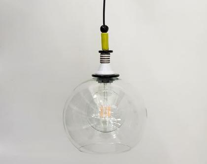 מנורת זכוכית שקופה - לפינת אוכל - מנורה לדלפק במטבח - גוף תאורה למבואה - גוף תאורה לפינת אוכל - גוף תאורה מזכוכית - כדור זכוכית שקוף