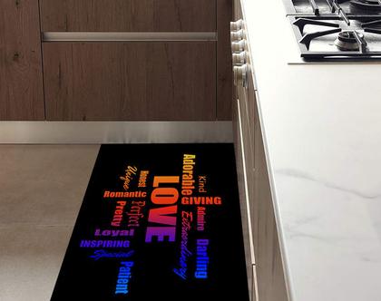 שטיח ויניל PVC דגם LOVE צבעוני | שטיח pvc מעוצב | שטיח למטבח | שטיח pvc לבית