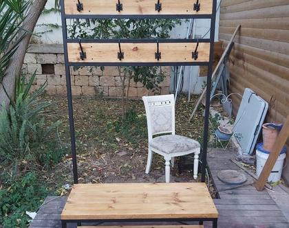 מתלה 10 ווים למעילים / בגדים / תיקים עשוי ברזל ועץ מלא