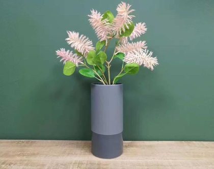 אגרטל מט מעוצב לפרחים גוון אפור