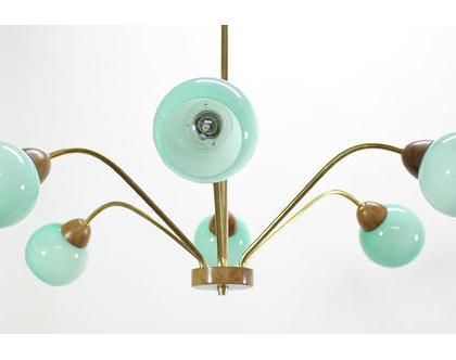 נברשת ארט דקו גרמנית, מנורת פליז גדולה, נברשת וינטאג׳