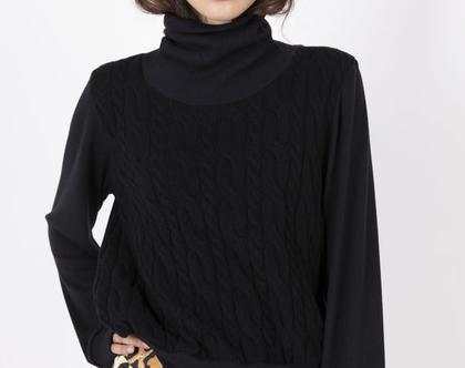 סוודר גולף צמות שחור