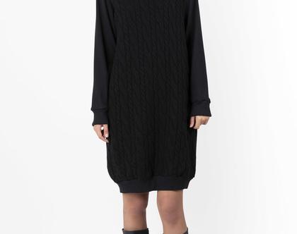 שמלת סוודר גולף צמות שחור