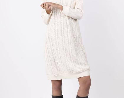 שמלת סוודר גולף צמות בהירה
