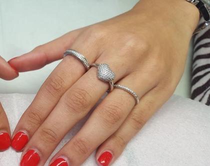 *חיסול מלאי* טבעת לב נפוח משובצת זרקונים כסף 925 מידה 55
