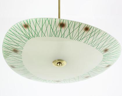 נברשת ארט דקו, מנורת תקרה וינטאג׳ גדולה, מנורת תקרה אר דקו, מנורת תקרה ירוקה
