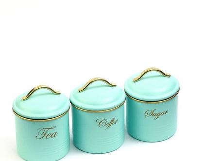 סט קפה תה סוכר - מעוצב בצבע טורקיז | סט קופסאות מפח לקפה תה וסוכר