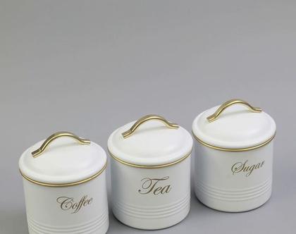 סט קפה תה סוכר - מעוצב בצבע לבן | סט קופסאות מפח לקפה תה וסוכר | סט קפה תה סוכר מעוצב