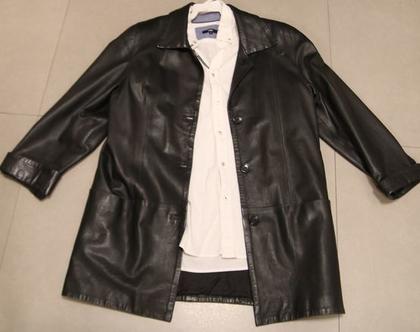 מעיל עור שחור לגבר - מידה M-L COBALTC