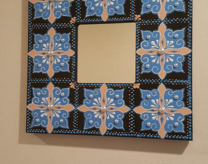 מראה מעוצבת 26 על 26 סמ בגווי כחול ובז